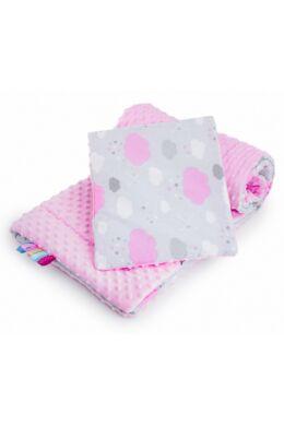 Minka Felhőcske kétoldalas együttes babakocsiba, kiságyba - rózsaszín