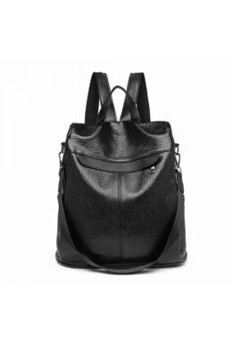 Klasszikus texturált lopásgátló hátitáska - fekete