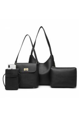 Florence E6835 4 részes női táskaszett-Fekete