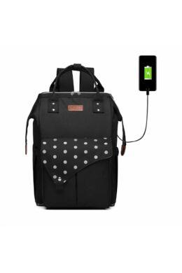 KONO Polka Pelenkázó táska USB- pöttyös fekete