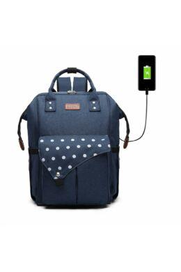 KONO Polka Pelenkázó táska USB- pöttyös sötétkék
