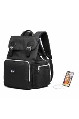 KONO utazó baba-mama hátizsák USB  - fekete