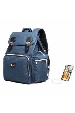 KONO utazó baba-mama hátizsák USB  - sötétkék