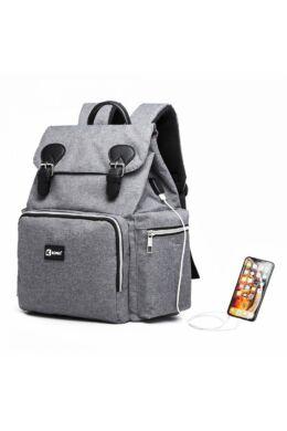 KONO utazó baba-mama hátizsák USB  - szürke