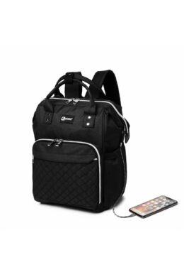 KONO USB csatlakozós baba-mama hátitáska-fekete, praktikus és népszerű