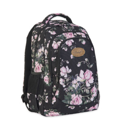 Budmil Hátitáska ovális fekete pink virágos