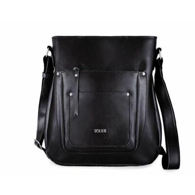 Solier FL21 stílusos női bőr válltáska- fekete