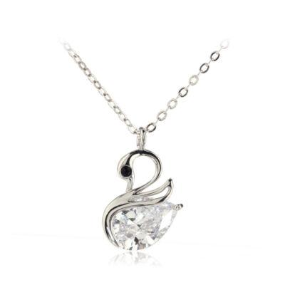 Ezüst színű Női Crystal Hattyú medálos nyaklánc