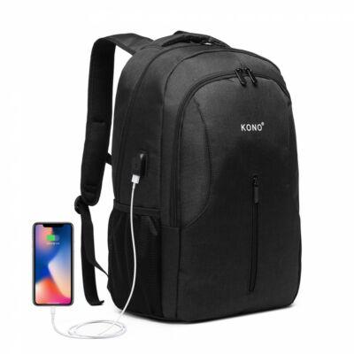 KONO nagy kapacitású hátizsák USB csatlakozóval- Fekete