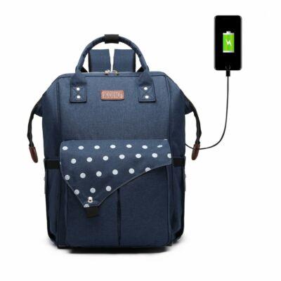KONO Polka Pelenkázó táska USB csatlkozóval- pöttyös sötétkék
