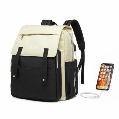 KONO merevített pelenkázó hátizsák USB csatlkozóval- fekete