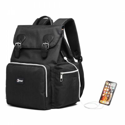 KONO utazó baba-mama hátizsák USB csatlkozóval  - fekete