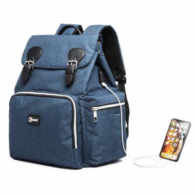 KONO utazó baba-mama hátizsák USB csatlkozóval  - sötétkék