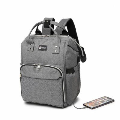 KONO USB csatlakozós baba-mama hátitáska-szürke, praktikus és népszerű