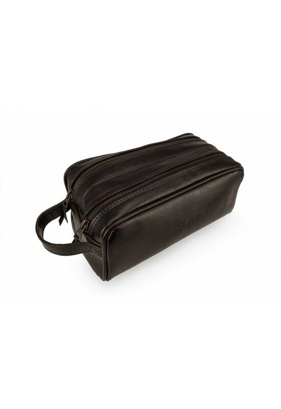 Elegáns SOLIER SK02  bőr férfi kozmetikai táska  sötétbarna