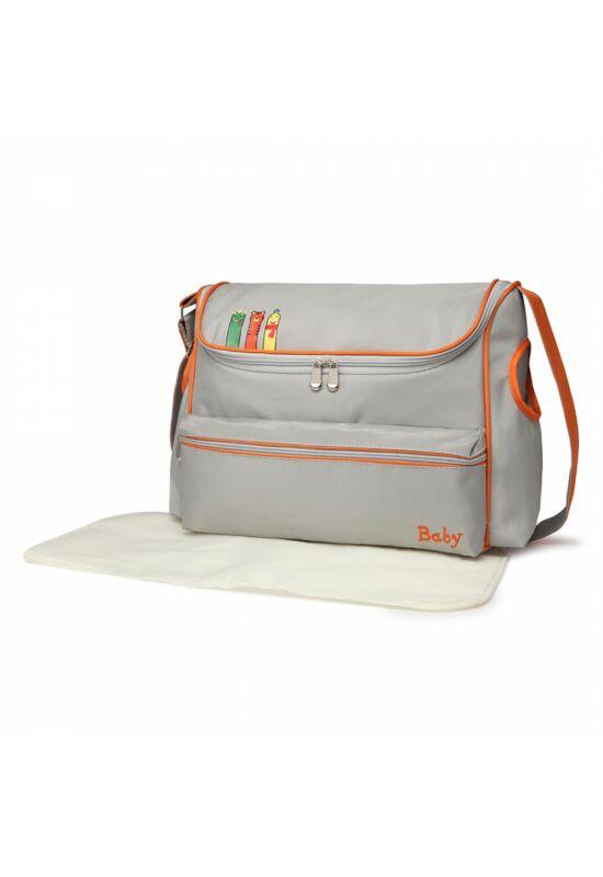 Szürke-narancssárga babakocsi táska pelenkázó alátéttel