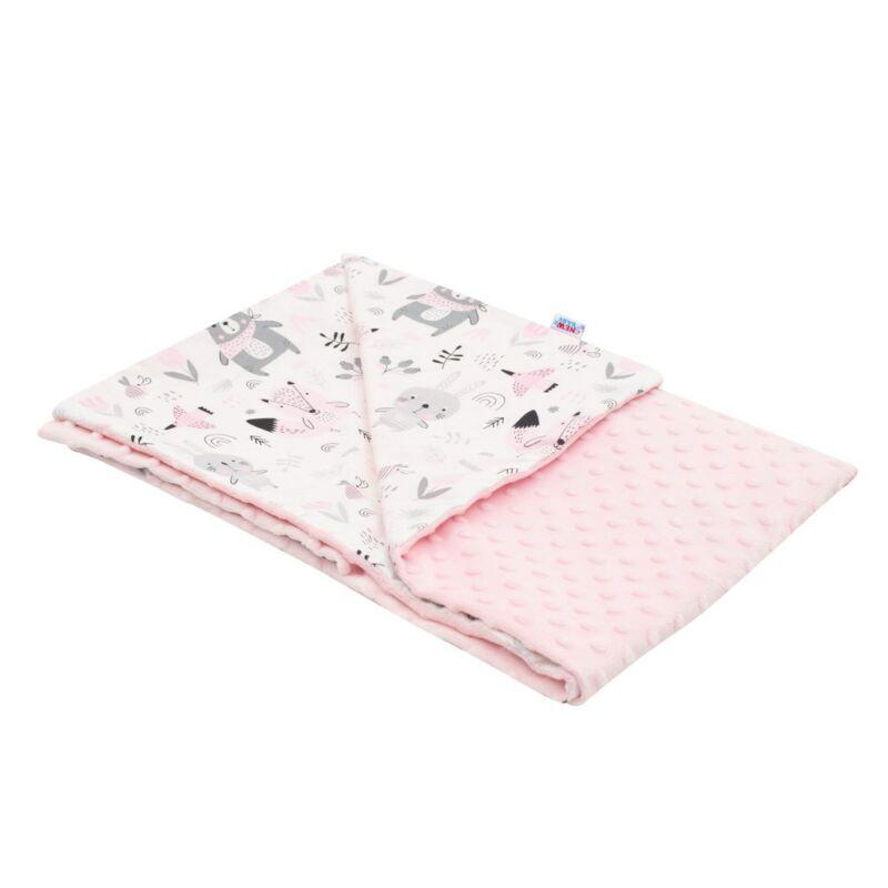 Gyerekpléd Minky Maci rózsaszín 80x102 cm