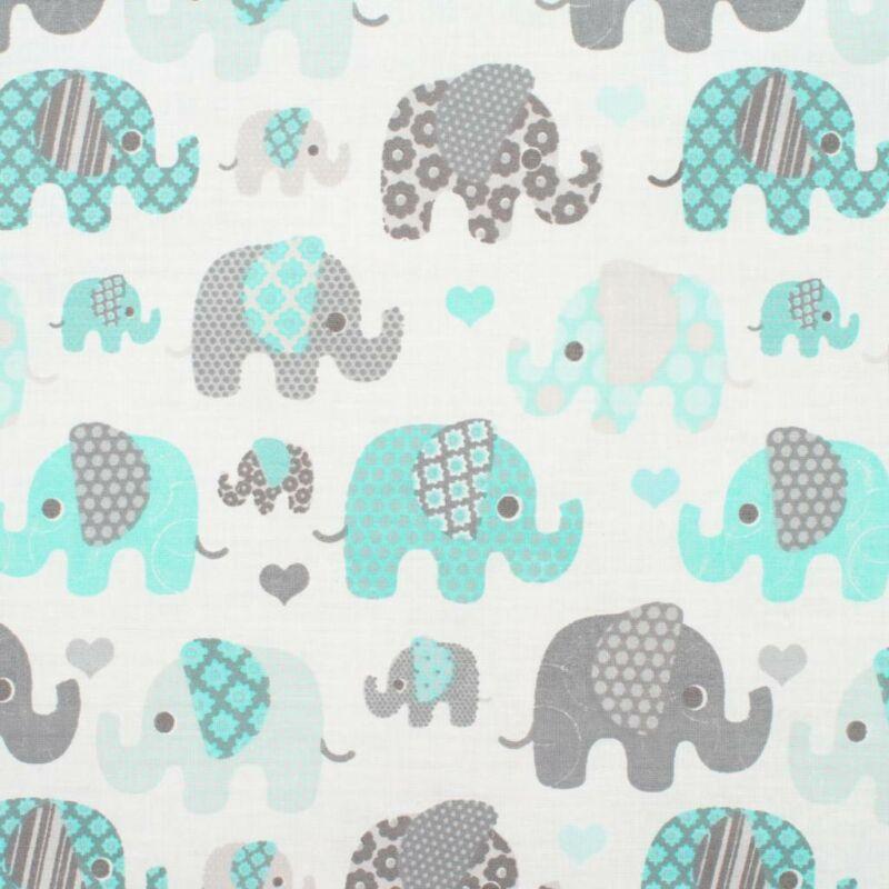 Kétoldalas elefánt mintás együttes babakocsiba - menta