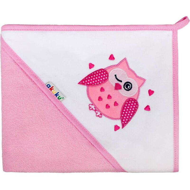 Gyermek törölköző  80x80  Akuku baglyocska- rózsaszín