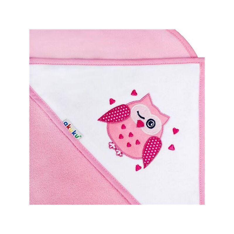 Gyermek törülköző  100X100  Akuku baglyocska- rózsaszín