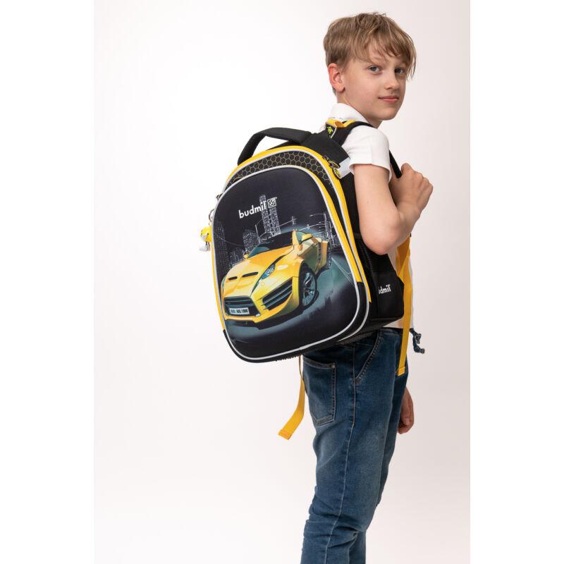 Budmil ergonómiai iskolatáska Sárga autós
