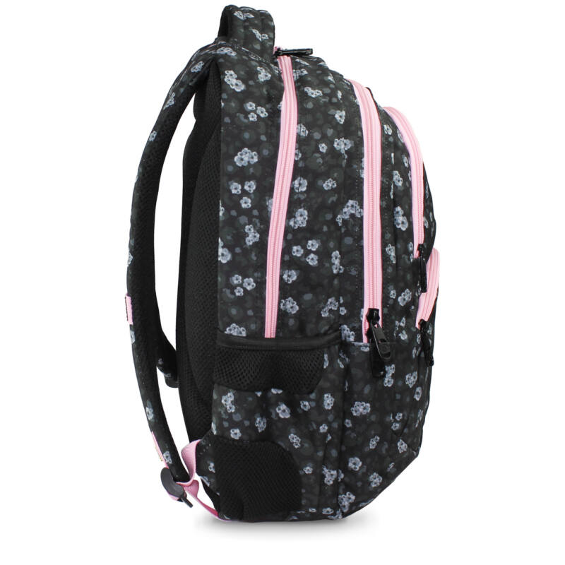 Budmil Hátitáska ovális sötétszürke-pink virágos-2