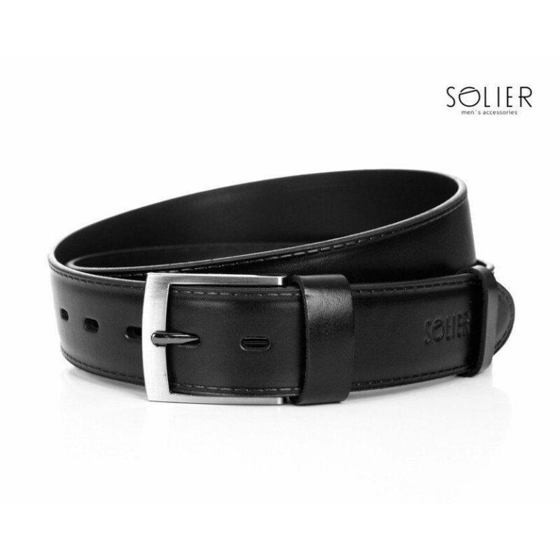 Elegáns SOLIER SB05 bőr öv 90 cm fekete