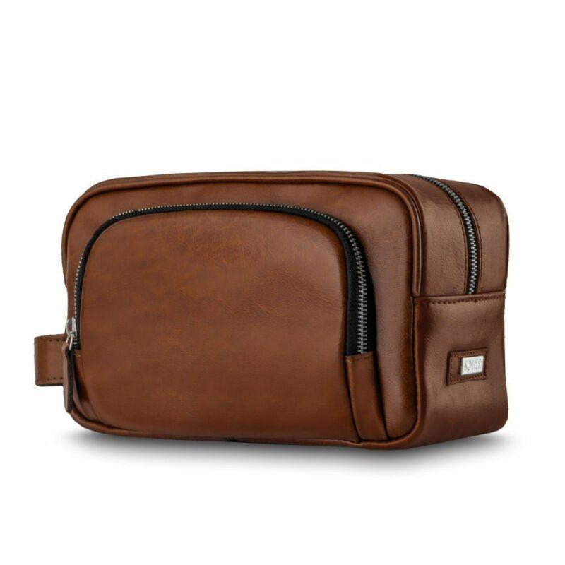 Elegáns SOLIER SK04 valódi bőr férfi kozmetikai táska vintage barna