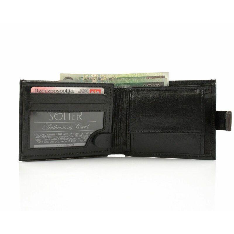 Elegáns SOLIER SW03  bőr pénztárca  fekete