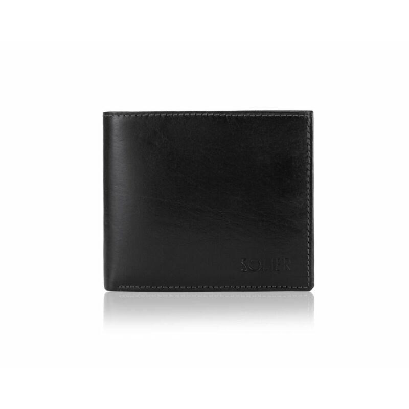 Elegáns SOLIER SW29 RFID bőr pénztárca fekete