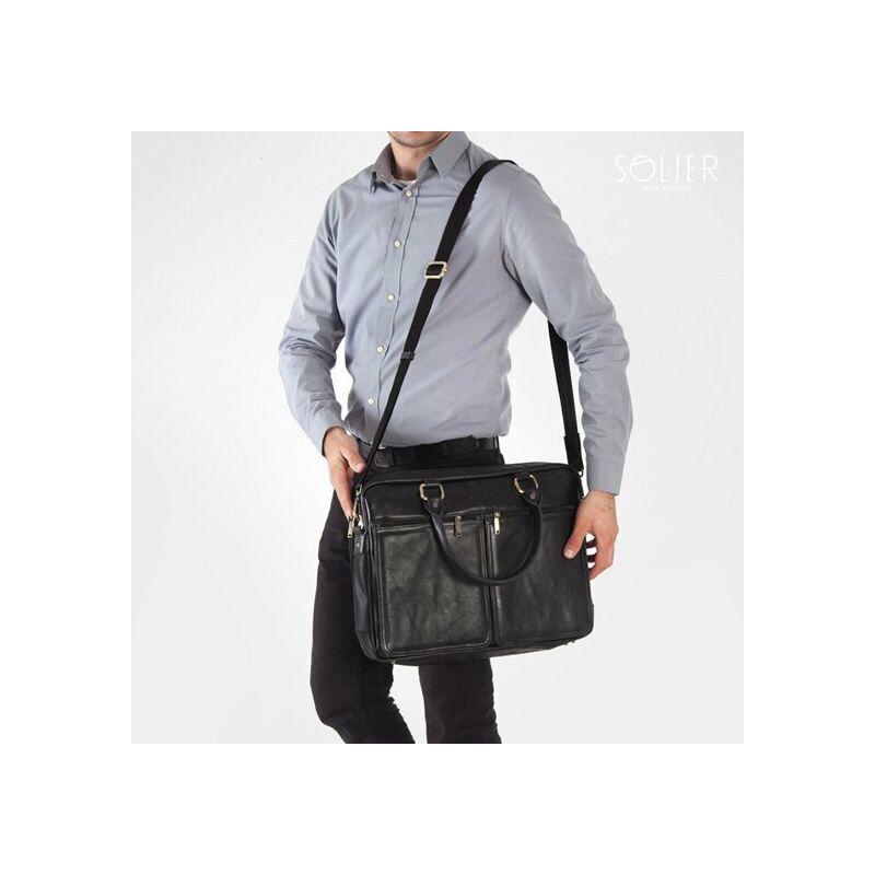 Solier SL01 Férfi cserzett bőr laptoptáska - fekete
