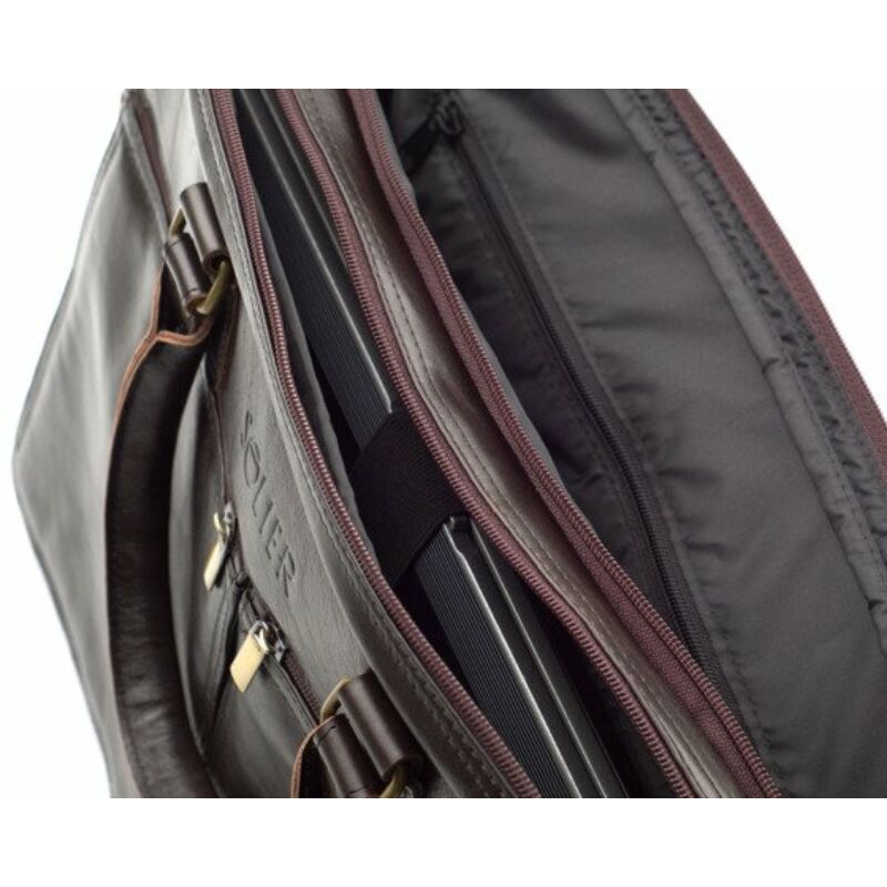 Solier SL01 Férfi cserzett bőr laptoptáska - barna