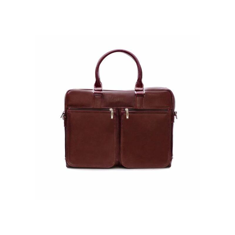 Solier SL01 Férfi cserzett bőr laptoptáska - barna maroon