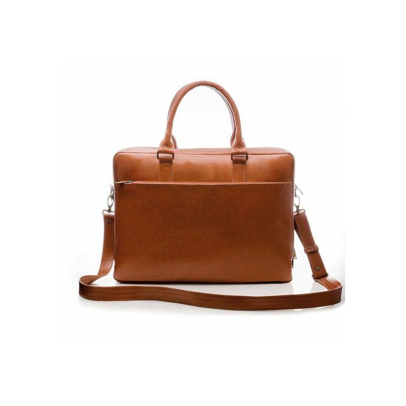 Solier SL01 Férfi cserzett bőr laptoptáska - vintage barna