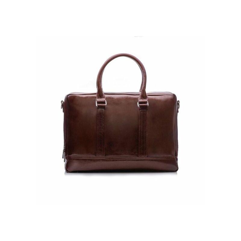 Elegáns Solier SL02 férfi bőr laptoptáska - barna maroon