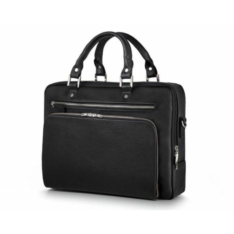 Solier SL24 valódi bőr laptoptáska - fekete