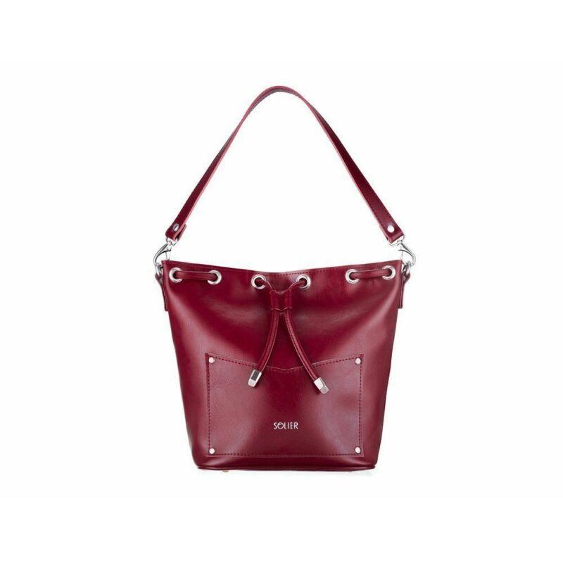 Solier FL19 elegáns női bőr oldaltáska- burgundy