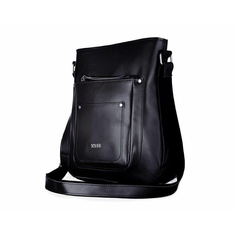 Solier FL21 stílusos női bőr válltáska- fekete-1