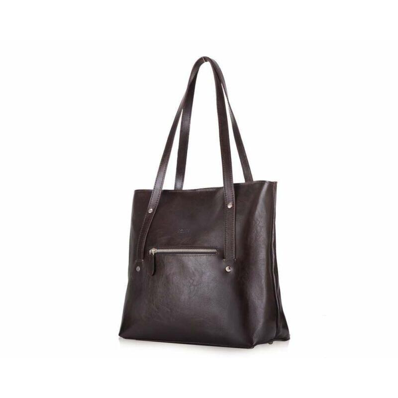 Solier FL23 bőr bevásárlótáska- sötétbarna