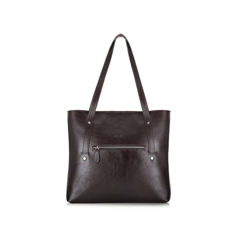 Solier FL23 bőr bevásárlótáska- sötétbarna-1