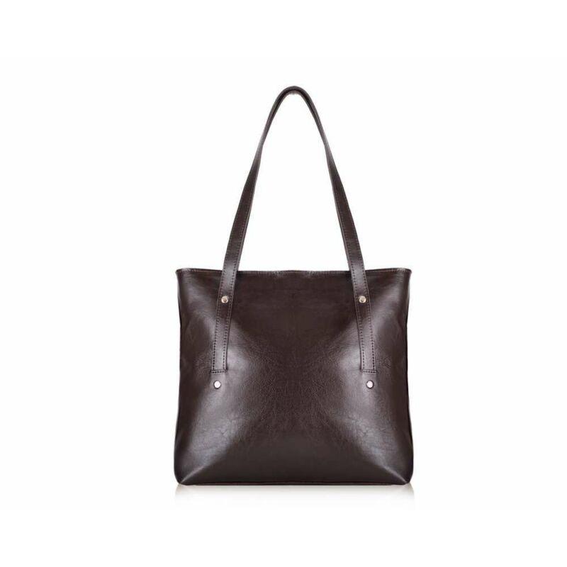 Solier FL23 bőr bevásárlótáska- sötétbarna-2