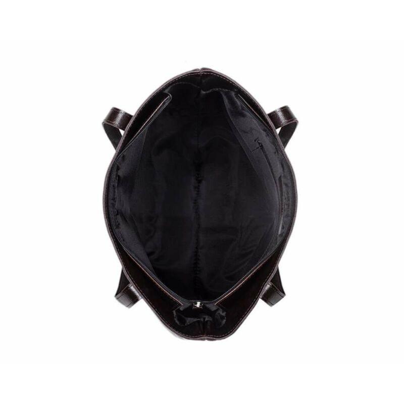 Solier FL23 bőr bevásárlótáska- sötétbarna-4
