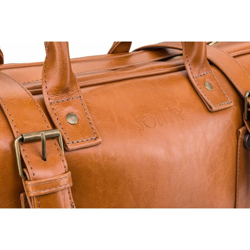 Solier SL16 valódi bőr utazótáska- világos barna