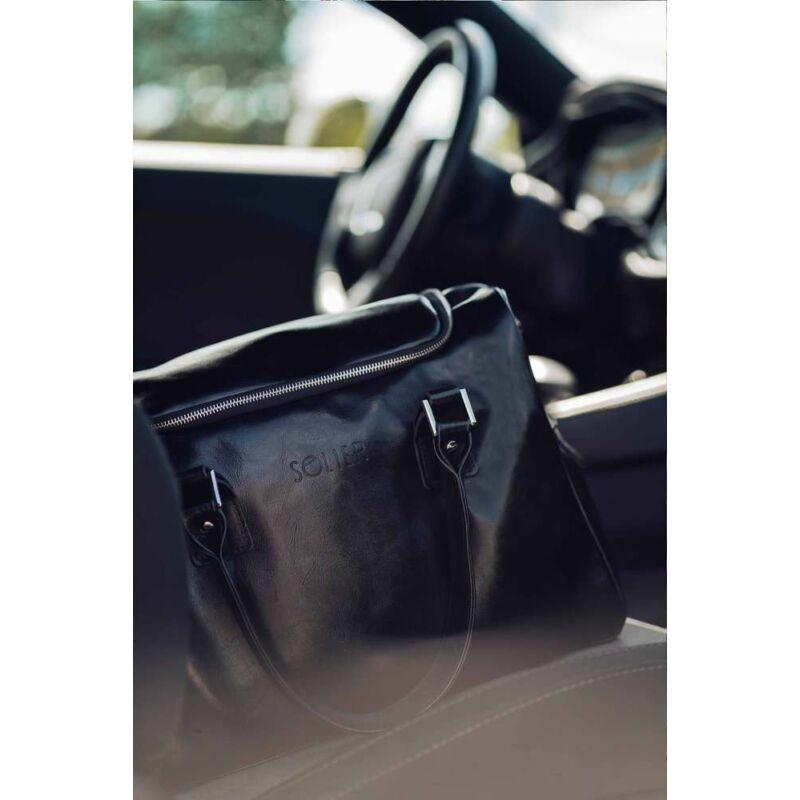 Solier SL27 elegáns unisex bőr utazótáska- fekete