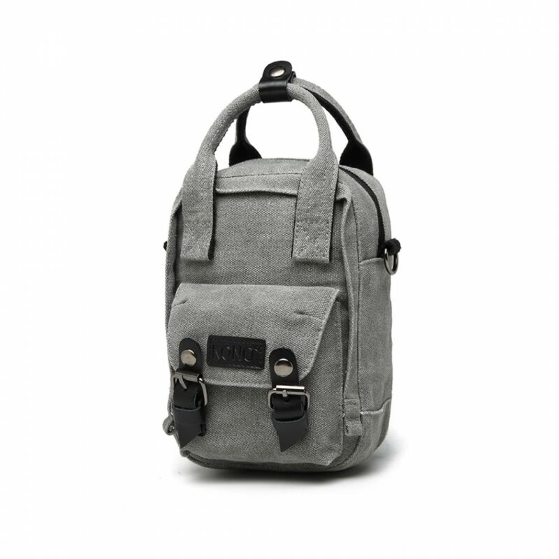 KONO  vászon oldaltáska-mini hátizsák szürke