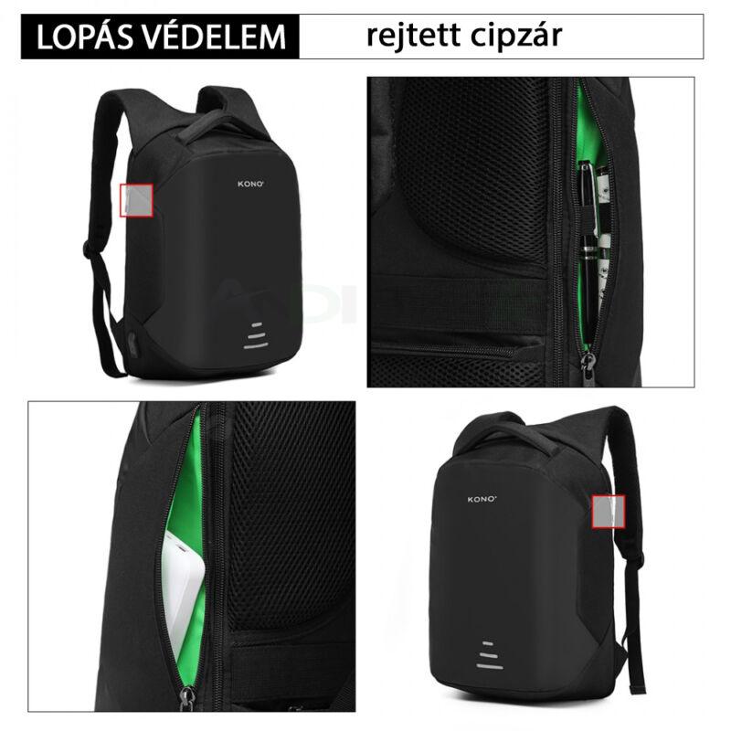 KONO lopásgátlós hátizsák USB csatlakozóval -fekete