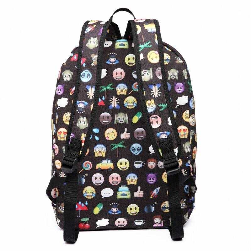 Emoji E6629 hátizsák tolltartóval és pénztárcával-fekete