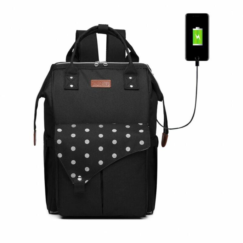 KONO Polka Pelenkázó táska USB csatlkozóval- pöttyös fekete