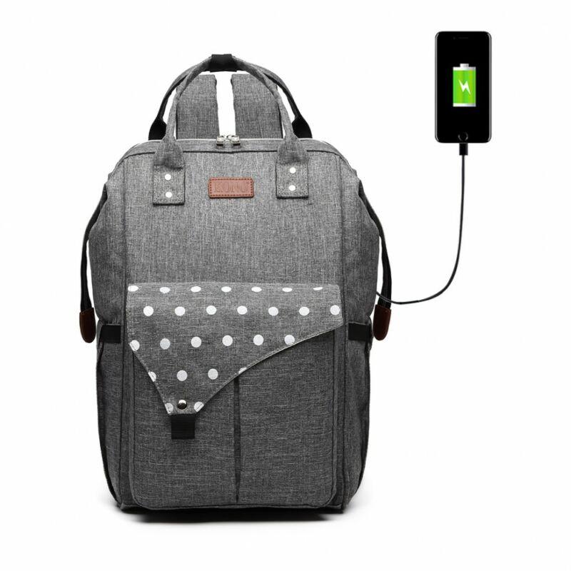 KONO Polka Pelenkázó táska USB csatlkozóval- pöttyös szürke