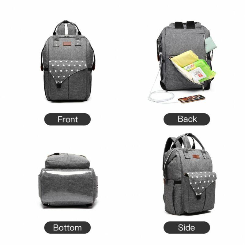 KONO Polka Pelenkázó táska USB- pöttyös szürke-1